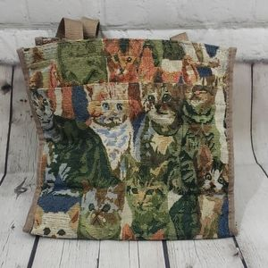 VINTAGE CAT TAPESTRY TOTE PURSE CAT LOVER